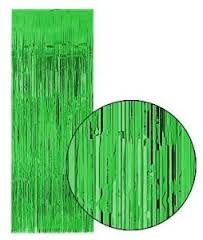 Green Slash (Foil) Shimmer Curtains for Theatre / Stage / Party