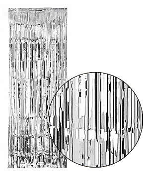 Silver Slash (Foil) Shimmer Curtains for Theatre / Stage / Party